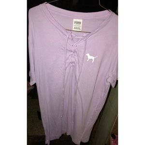 Vs pink lace up tee